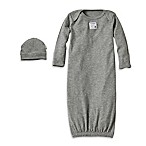 Burt's Bees Baby® Size 0-9M Organic Cotton Gown and Cap Set in Grey