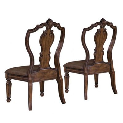 Pulaski San Mateo Carved Back Side Chairs in Brown (Set of 2)