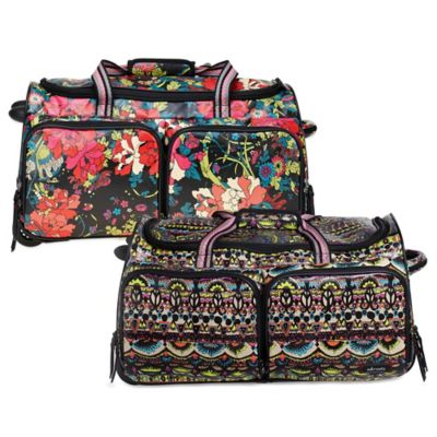 Sakroots Artist Circle Rolling Duffle in Jet Flower Power