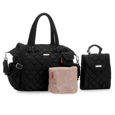 Storksak® 3-Piece Bobby Quilted Diaper Bag Set in Black