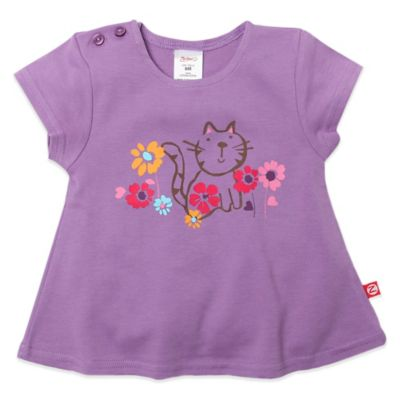 Zutano® Size 6M Kitten Short Sleeve Swing T-Shirt in Purple