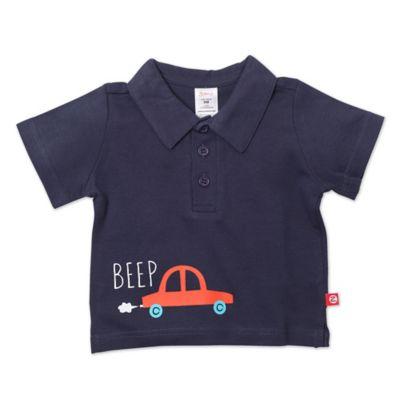 Zutano® Size 6M Beep Short Sleeve Polo Shirt in Navy