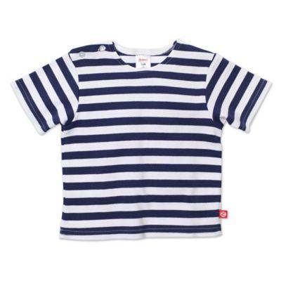 Zutano® Size 6M Primary Stripe Short Sleeve T-Shirt in Navy/White