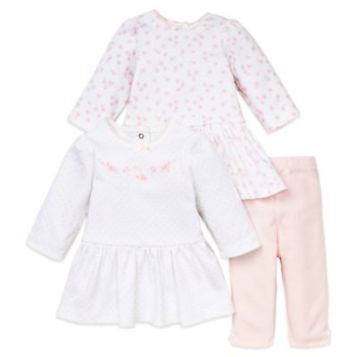 Little Me® Size 6M 3-Piece Long Sleeve Dress and Legging Set in Pink/Bunny