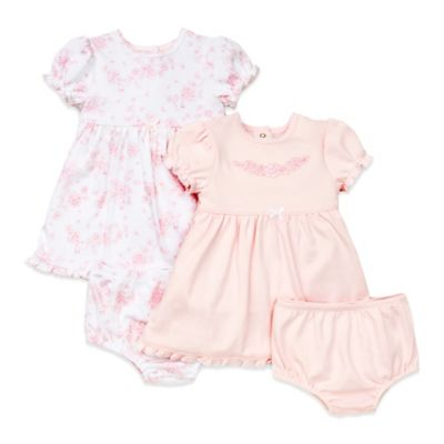 Little Me® Size 3M 4-Piece Sweet Dress and Panty Set in Pink/White