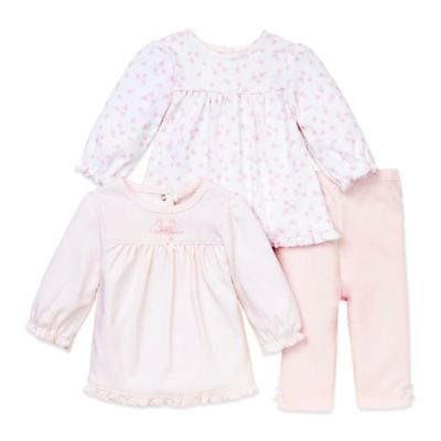 Little Me® Size 3M 3-Piece Long Sleeve Top and Legging Set in Bunny/Pink