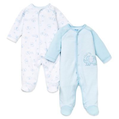 Little Me® Newborn 2-Pack Footie in Light Blue/Elephant