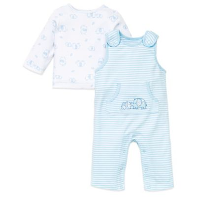 Little Me® Size 3M Cute Elephants 2-Piece Overall and Top Set in Light Blue Stripe/White