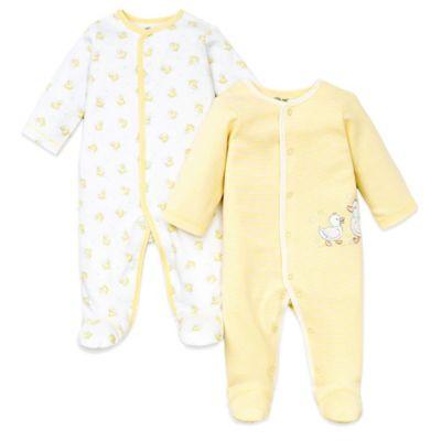 Little Me® Newborn 2-Pack Ducks Footie in Yellow Stripe/White Duck Print