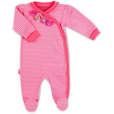 Kushies Blue Banana™ Size 3M Pretty Petals Side Snap Footie in Pink Stripe