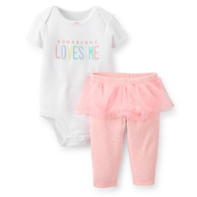 "Carter's® Size 12M 2-Piece ""Some Bunny Loves Me"" Bodysuit and Tutu Pant Set in White/Pink"