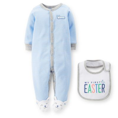 """Carter's® Size 6M 2-Piece Bunny Footie and """"My First Easter"""" Bib Set in Blue"""