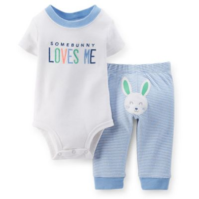 "Carter's® Size 9M 2-Piece ""Some Bunny Loves Me"" Bodysuit and Pant Set in Blue/White"