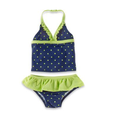 OshKosh B'gosh® Size 18M 2-Piece Polka Dot Tankini in Navy/Lime