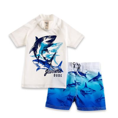 "OshKosh B'gosh® 2-Piece ""Jawsome Dude"" Long Sleeve Rashguard Set in White/Blue"