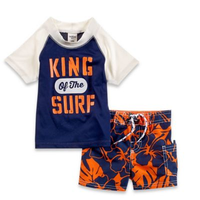 "OshKosh B'gosh® 2-Piece ""King of the Surf"" Rashguard Set in Navy/Orange"