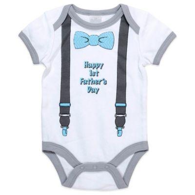 "Cutie Pie® ""Happy 1st Father's Day"" Bodysuit in White/Grey/Blue"