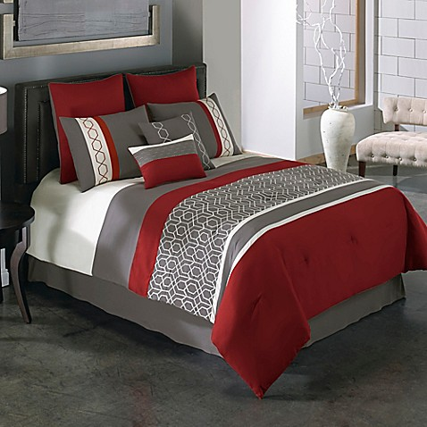 Buy covington 8 piece full comforter set in red grey from bed bath