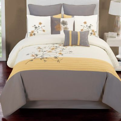 Camisha 8-Piece Full Comforter Set in Yellow/Grey