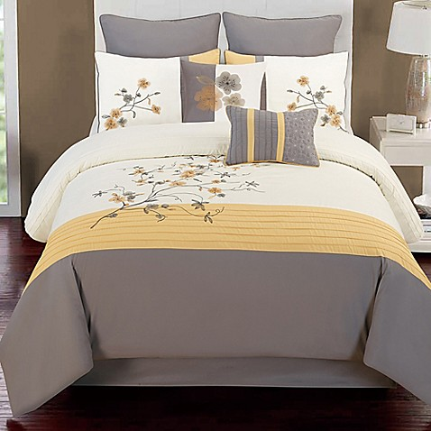 Buy camisha 8 piece full comforter set in yellow grey from for Yellow and grey bathroom sets