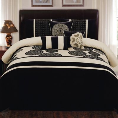 Biatta 7-Piece Queen Comforter Set in Black/Ivory