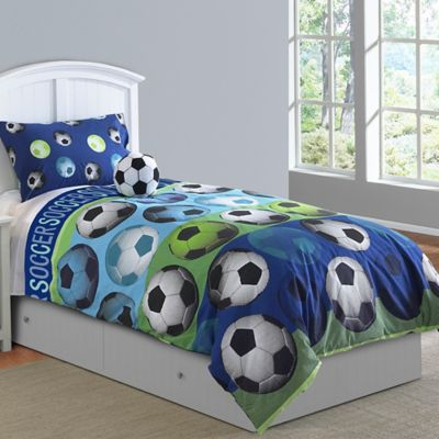 Soccer League 4-Piece Full Comforter Set in Blue