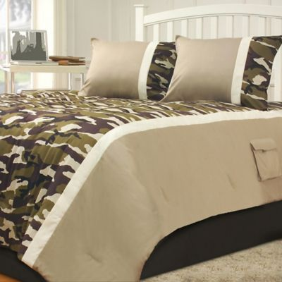 Campground Full 3-Piece Comforter Set in Green/Taupe