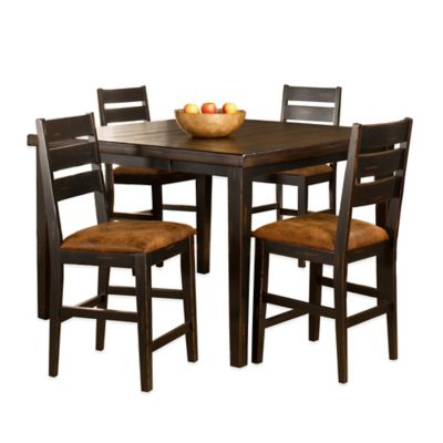 Hillsdale Killarney 5-Piece Counter Height Dining Set with Ladder Back Stools in Black/Antique Brown