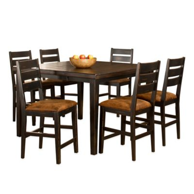 Hillsdale Killarney 7-Piece Counter Height Dining Set with Ladder Back Stools in Black/Antique Brown