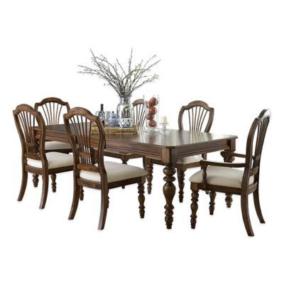 Hillsdale Pine Island 7-Piece Dining Set with Wheat Back Chairs in Dark Pine