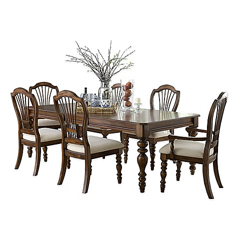 Buy Hillsdale Pine Island 7 Piece Dining Set With Wheat Back Chairs In Dark P