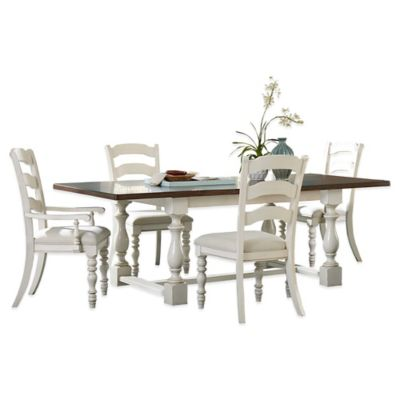Hillsdale 5-Piece Dining Set with Ladder Back Side Chairs in Old White