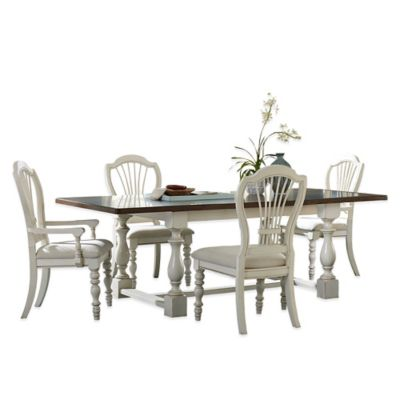 Hillsdale Pine Island 5-Piece Trestle Dining Set with Wheat Back Chairs in Old White