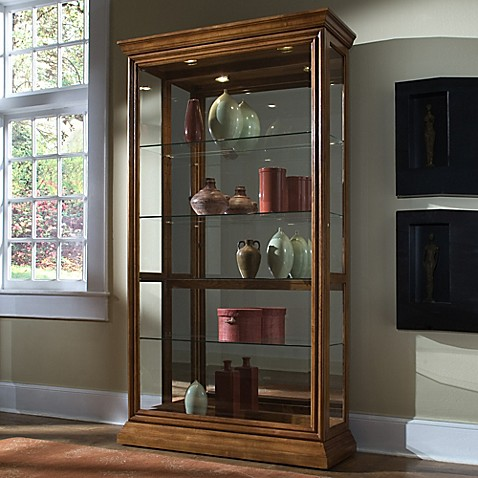 Pulaski Two Way Sliding Door Curio In Golden Oak Bed