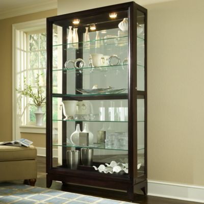 Pulaski Two-Way Sliding Door Curio in Chocolate Cherry