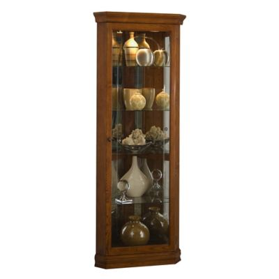 Pulaski Mirrored Corner Curio in Golden Oak