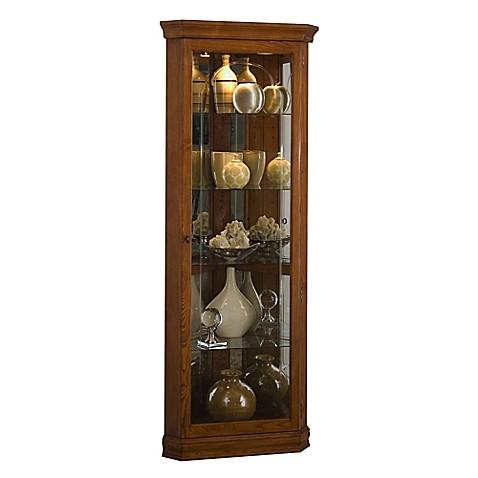 Buy Pulaski Mirrored Corner Curio In Golden Oak From Bed