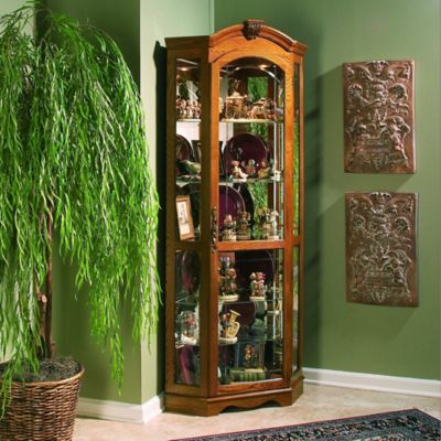 Estate Oak Curio Cabinets