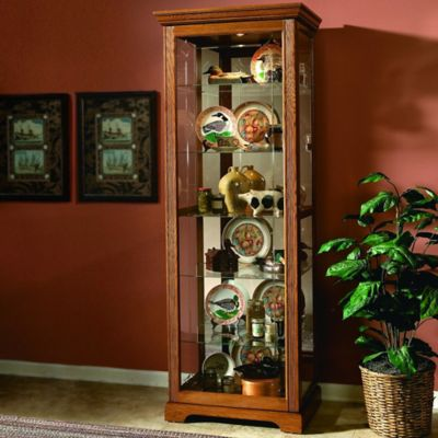 Pulaski Golden Oak II 2-Way Sliding Door Curio