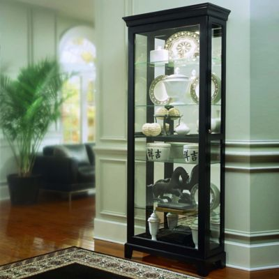 Pulaski Two-Way Sliding Door Curio in Oxford Black