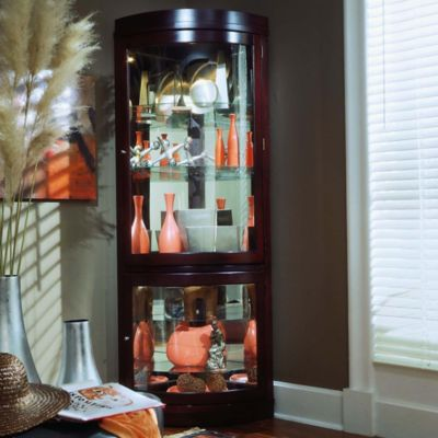 Chocolate Cherry Curio Cabinets