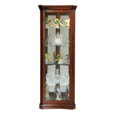 Pulaski Concave Corner Curio in Brown