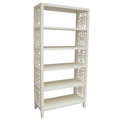 Pulaski Fretwork Ends Wood Bookcase in White
