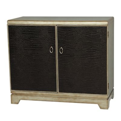 Pulaski Croc Embossed Credenza in Black