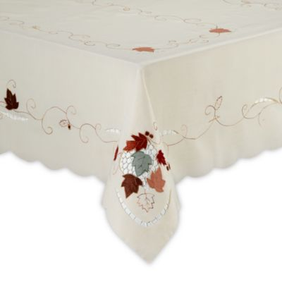 Embroidered Leaves and Acorns 70-Inch Round Tablecloth