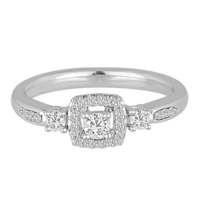 14K White Gold .34 cttw Diamond Size 6 Ladies' Square Frame Promise Ring