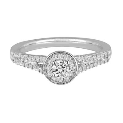 14K White Gold .40 cttw Diamond Size 6 Ladies' Round Split Shank Promise Ring
