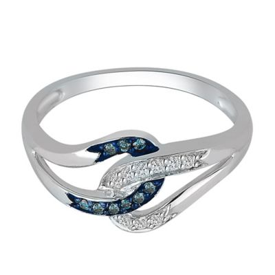 14K White Gold .10 cttw Blue and White Diamond Size 7 Ladies' Interlocking Loop Ring