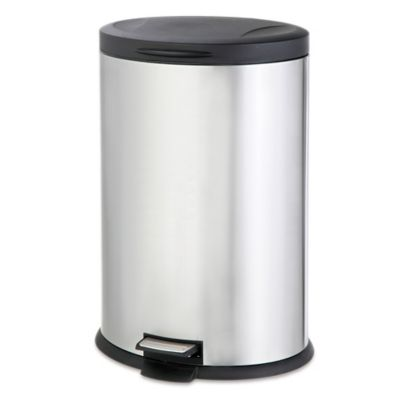 Stainless Steel Oval 40-Liter Pedal Trash Bin