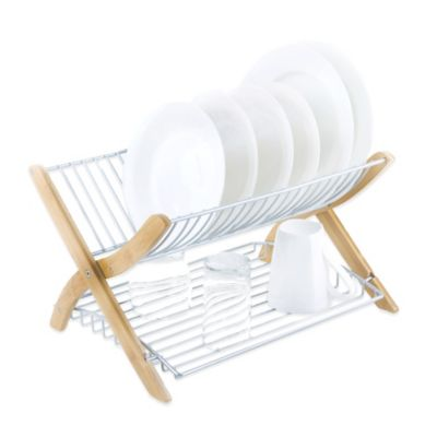 Umbra® Stack Dish Rack in Bamboo/Nickel